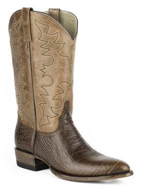 Roper Croc Print Tall Cowboy Boots - Round Toe, Brown, hi-res