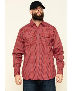 Ariat Men's FR Lubbock Retro Geo Print Long Sleeve Work Shirt - Tall , Dark Red, hi-res