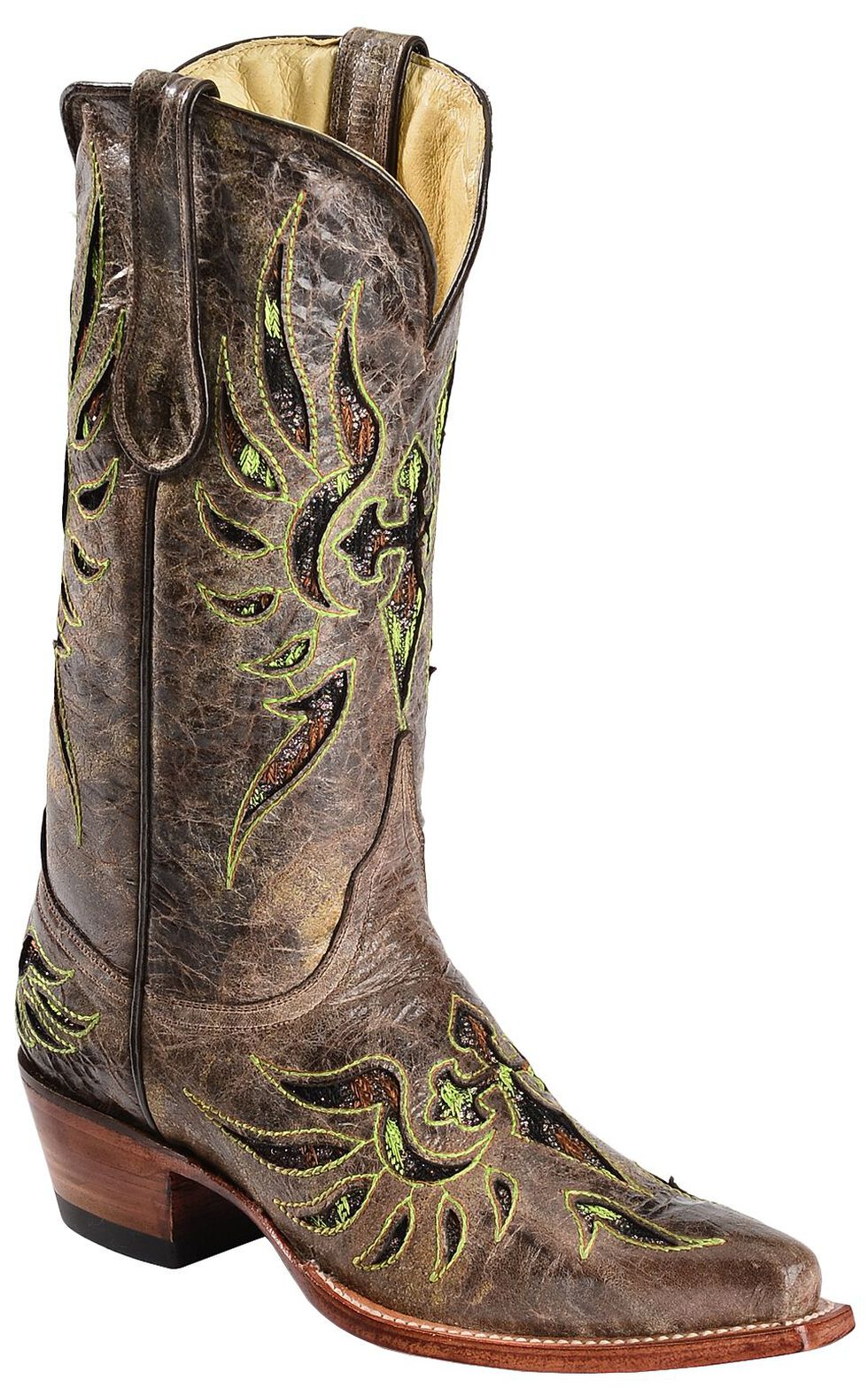 Ferrini Fabric Glitter Inlay Cross Distressed Cowgirl Boots - Snip Toe, Brown, hi-res