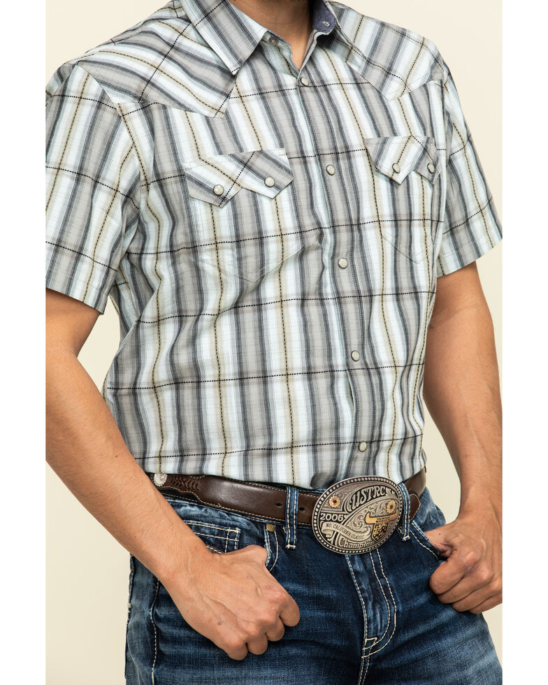 Cody James Men's Tall Oaks Plaid Short Sleeve Western Shirt - Big , Grey, hi-res