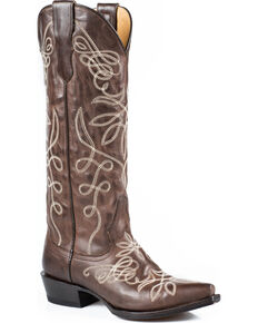 """Stetson Adeline 15"""" Cowgirl Boots - Snip Toe, Brown, hi-res"""