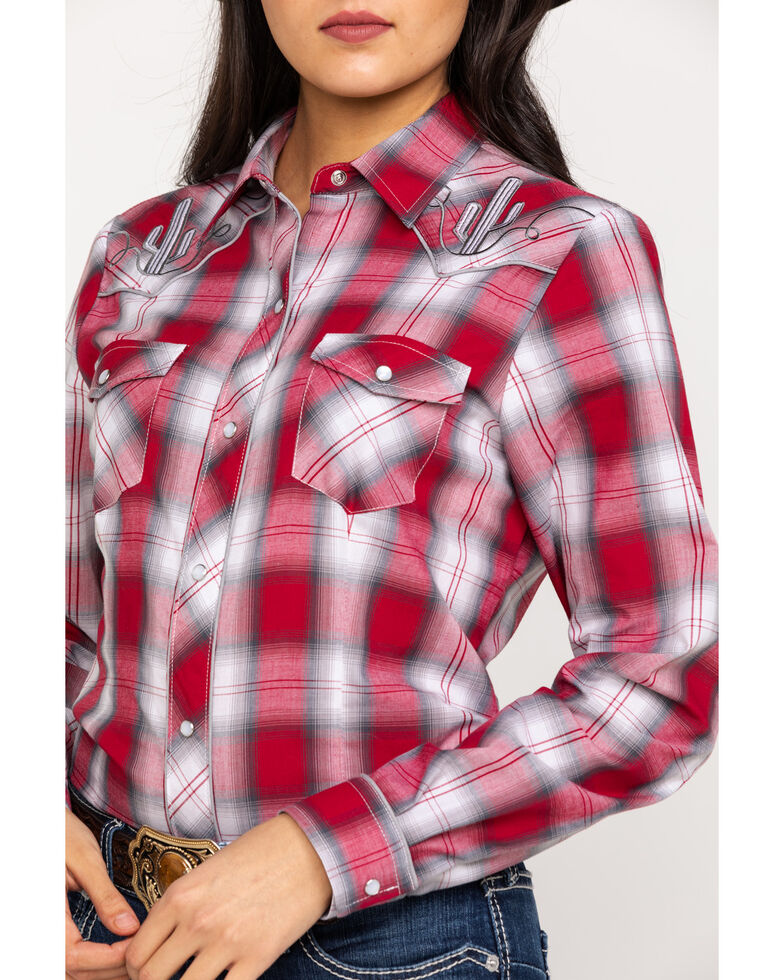 Roper Women's Red Plaid Cactus Embroidered Long Sleeve Western Shirt, Red, hi-res