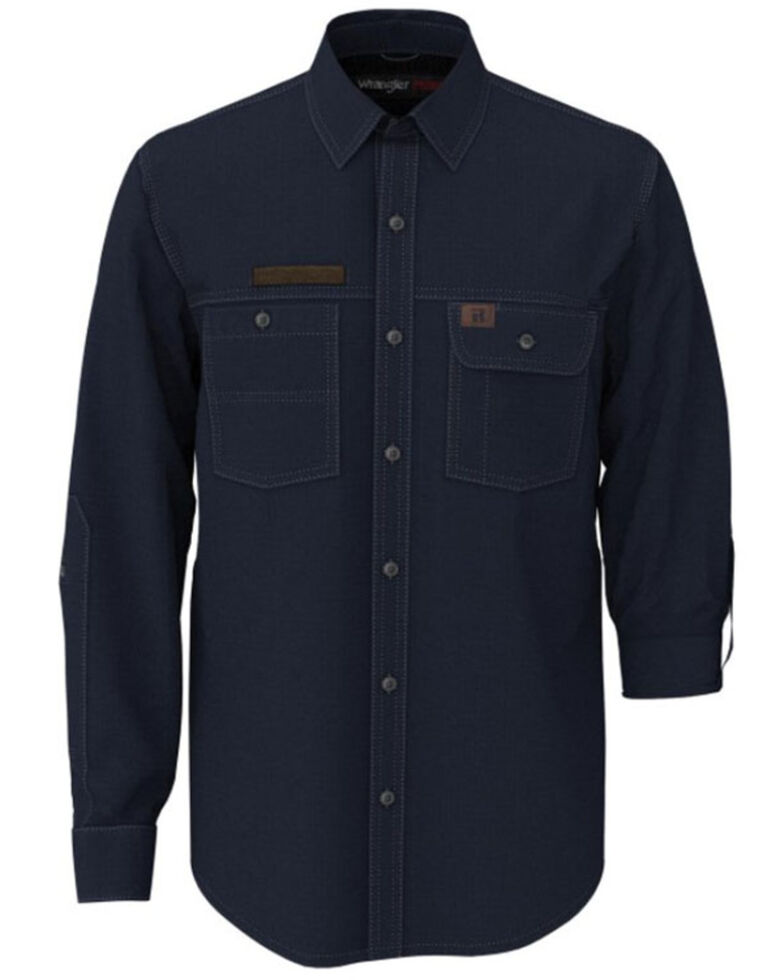 Wrangler Riggs Men's Solid Navy Vented Long Sleeve Button-Down Work Shirt - Tall, Navy, hi-res