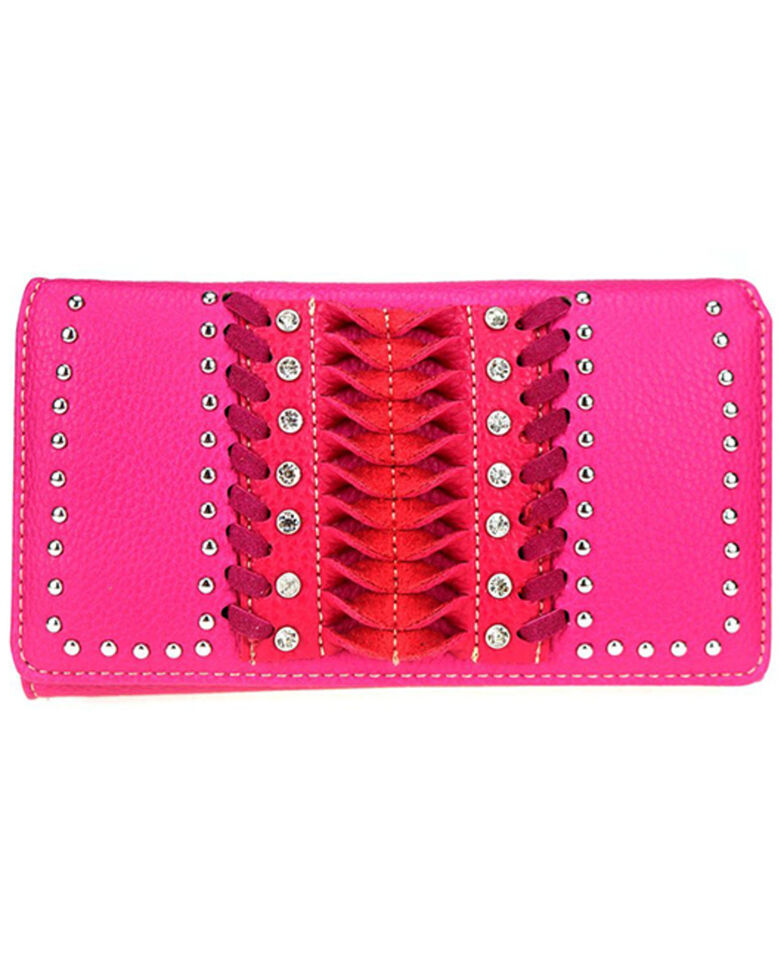Montana West Women's Pink Stitch Wallet, Pink, hi-res