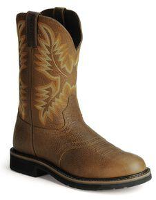 54067ead68d Justin Men s Stampede Superintendent Brown Work Boots - Soft Toe