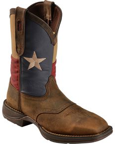 Durango Rebel Men's Texas Flag Western Boots - Steel Toe, Brown, hi-res