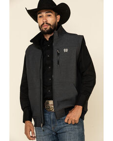 Cinch Men's Black Logo Textured Bonded Concealed Carry Vest , Black, hi-res