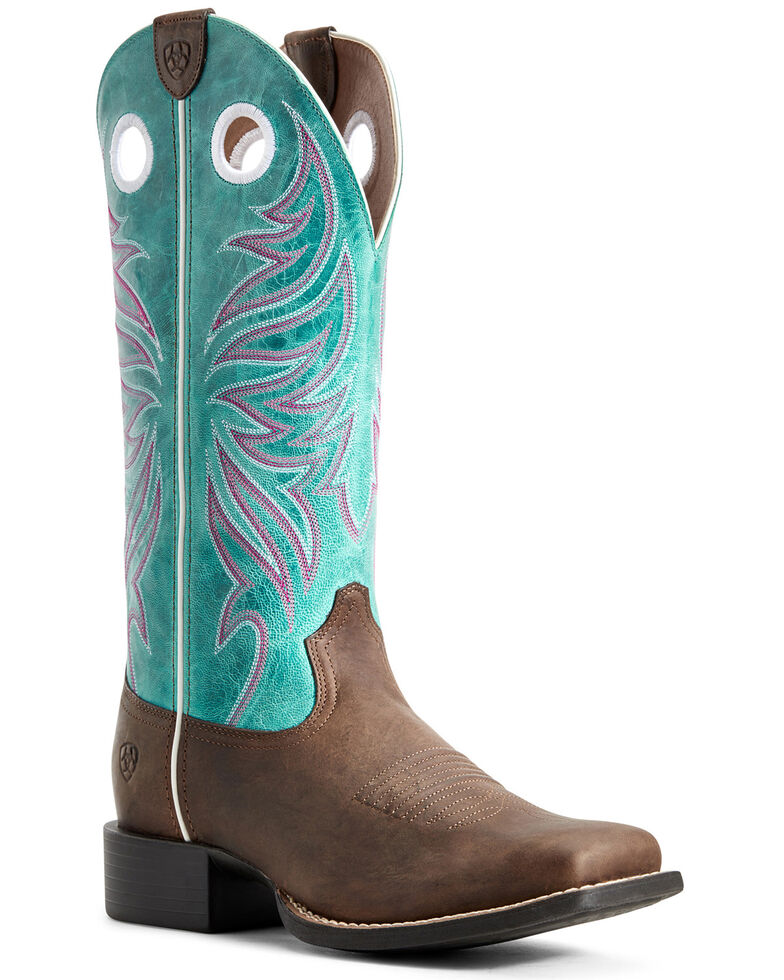 Ariat Women's Round Up Ryder Western Boots - Wide Square Toe, Brown, hi-res