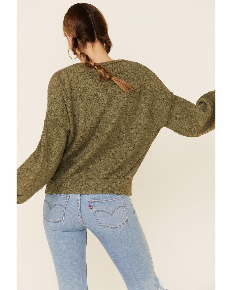 Peach Love Women's Olive Textured Pullover Sweatshirt , Olive, hi-res