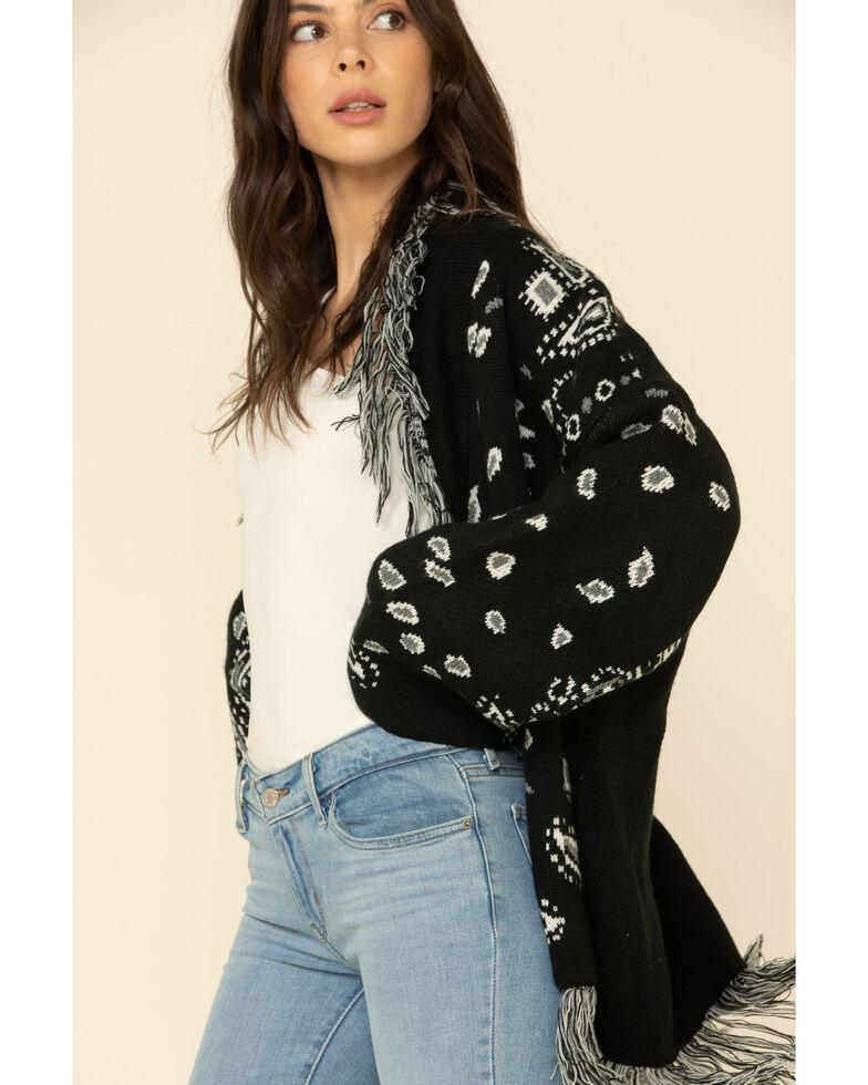 Cotton Emporium Women's Leo Paisley Belted Cardi Sweater , Black, hi-res