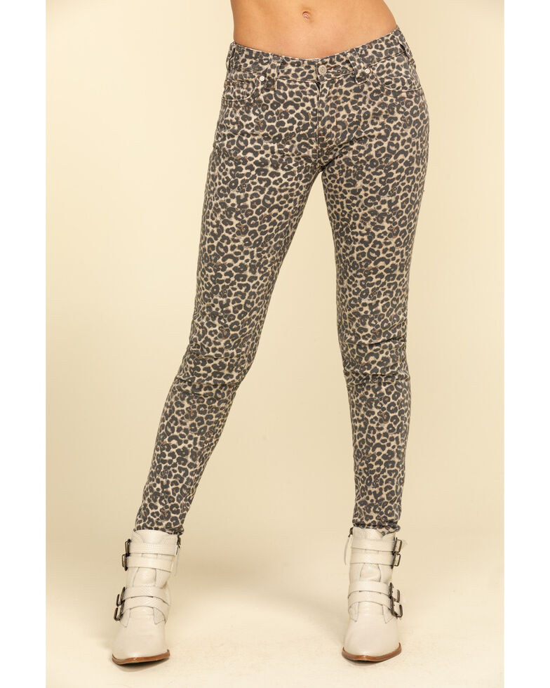 Rock & Roll Denim Women's Leopard Print Skinny Jeans , Blue, hi-res