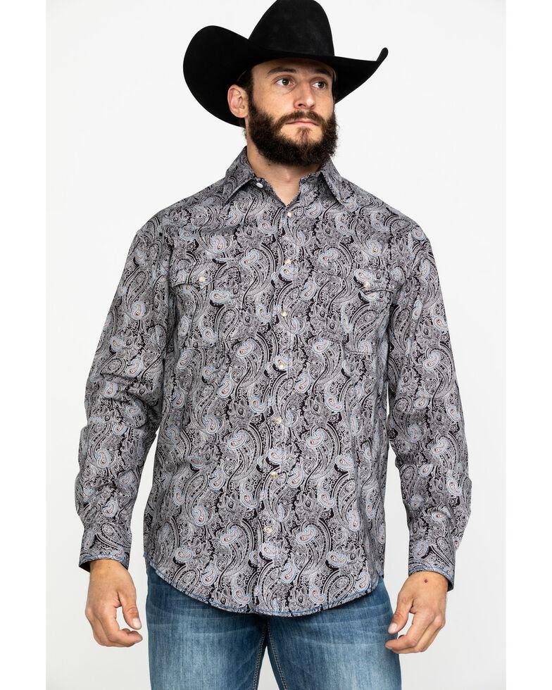 Rough Stock By Panhandle Men's Ventura Paisley Print Long Sleeve Western Shirt , Chocolate, hi-res