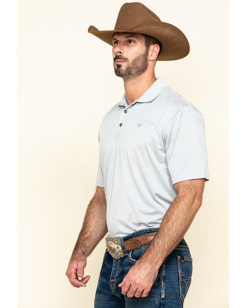 Ariat Men's Grey Fade Stripe TEK Short Sleeve Polo Shirt , Grey, hi-res