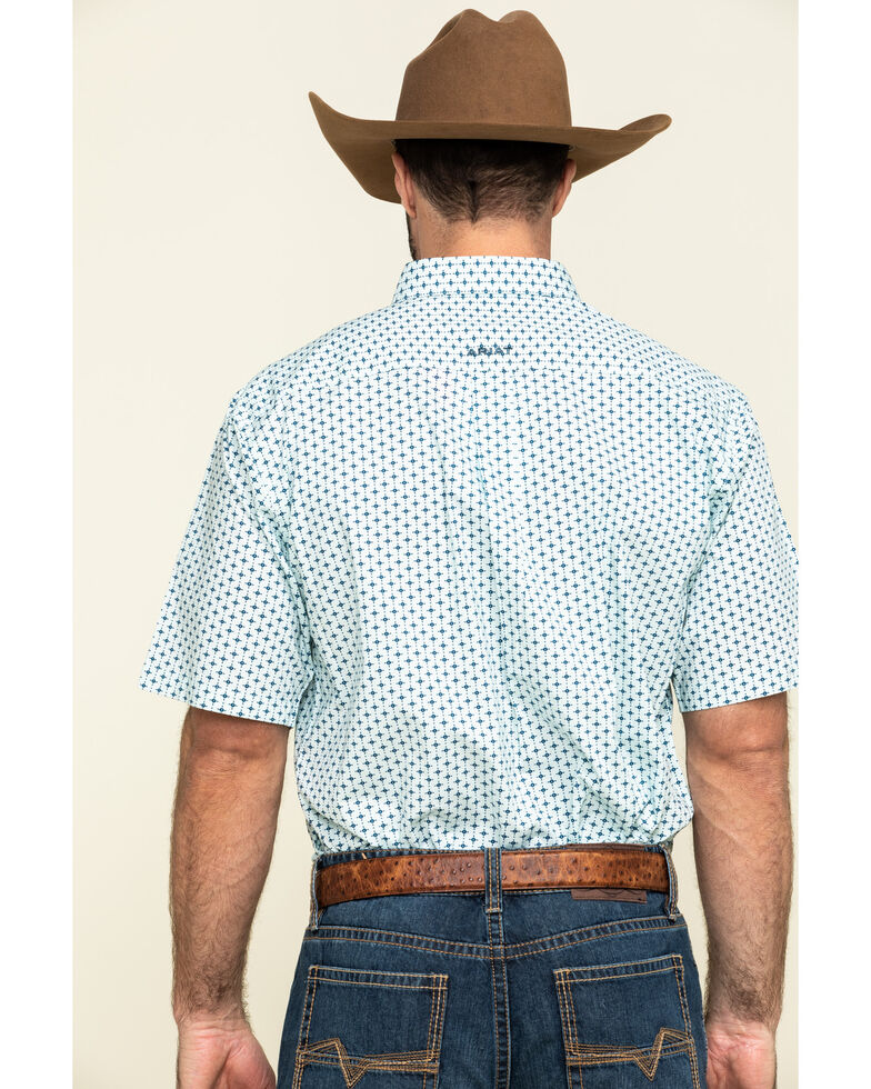 Ariat Men's Reedley Stretch Geo Print Short Sleeve Western Shirt - Big , Turquoise, hi-res