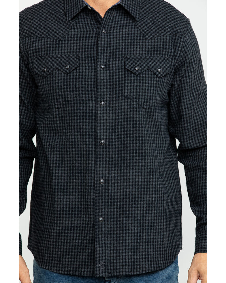 Moonshine Spirit Men's Hound Plaid Long Sleeve Western Flannel Shirt, Black, hi-res