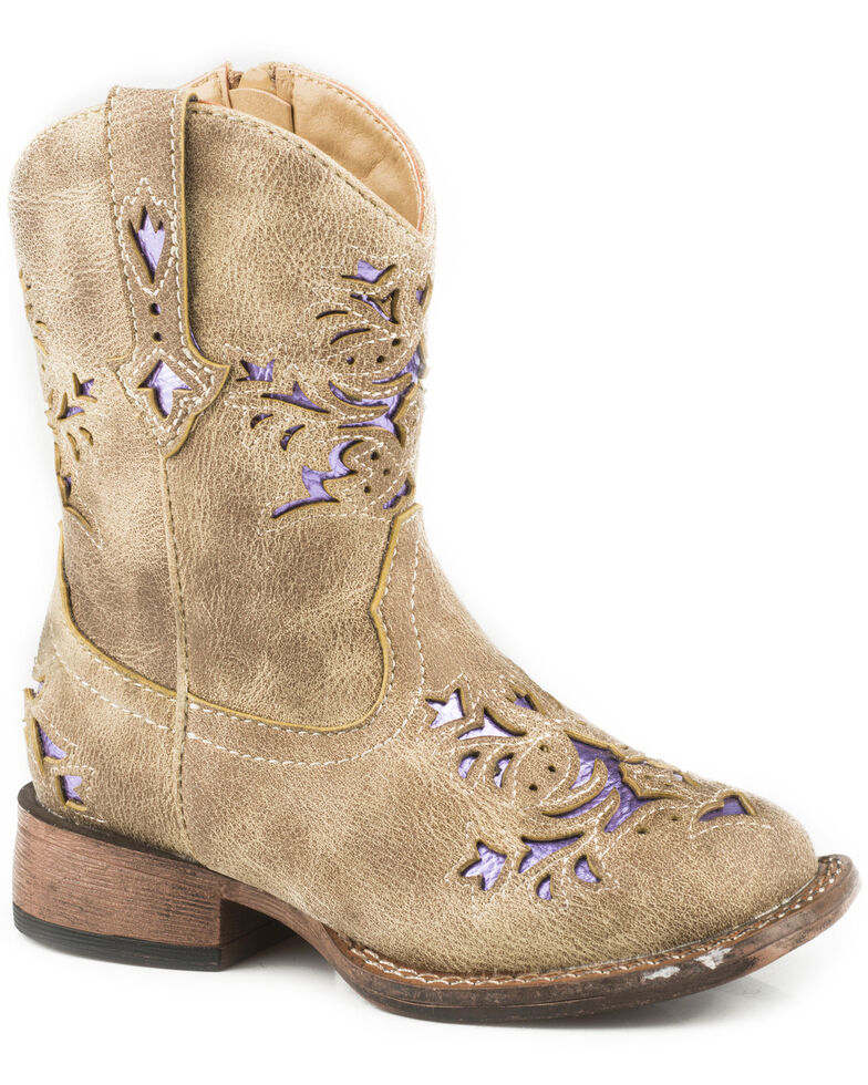 eb2230f8578 Zoomed Image Roper Toddler Girls' Lola Tan Metallic Underlay Cowgirl Boots  - Square Toe, Tan,