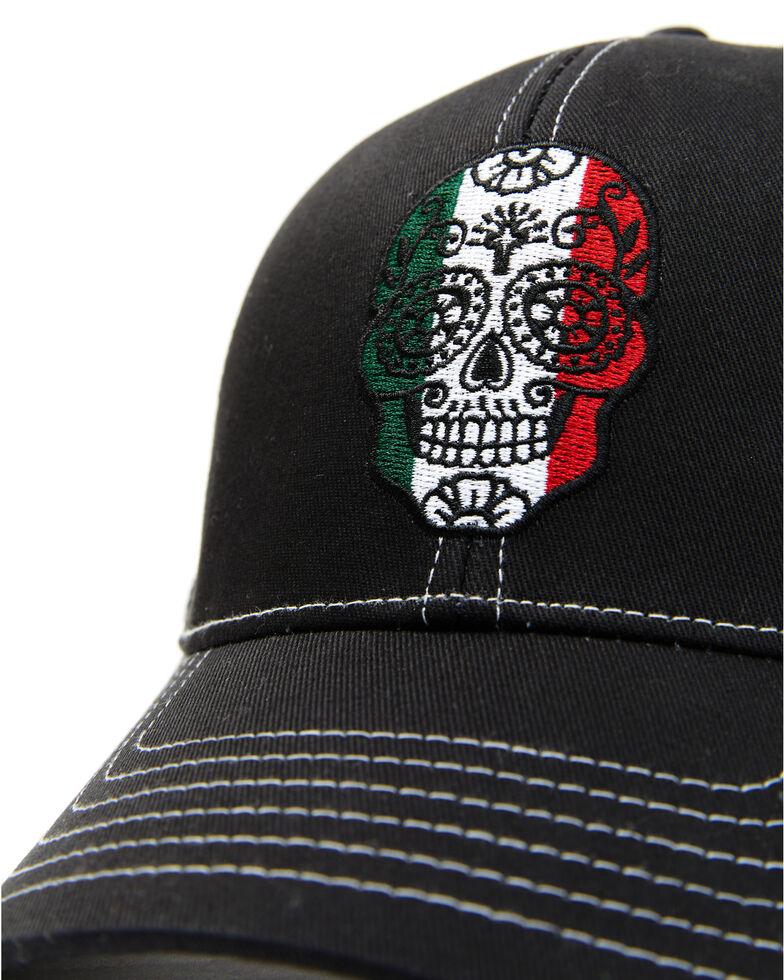 Cody James Men's Mexico Flag Sugar Skull Embroidered Mesh-Back Ball Cap , Black, hi-res