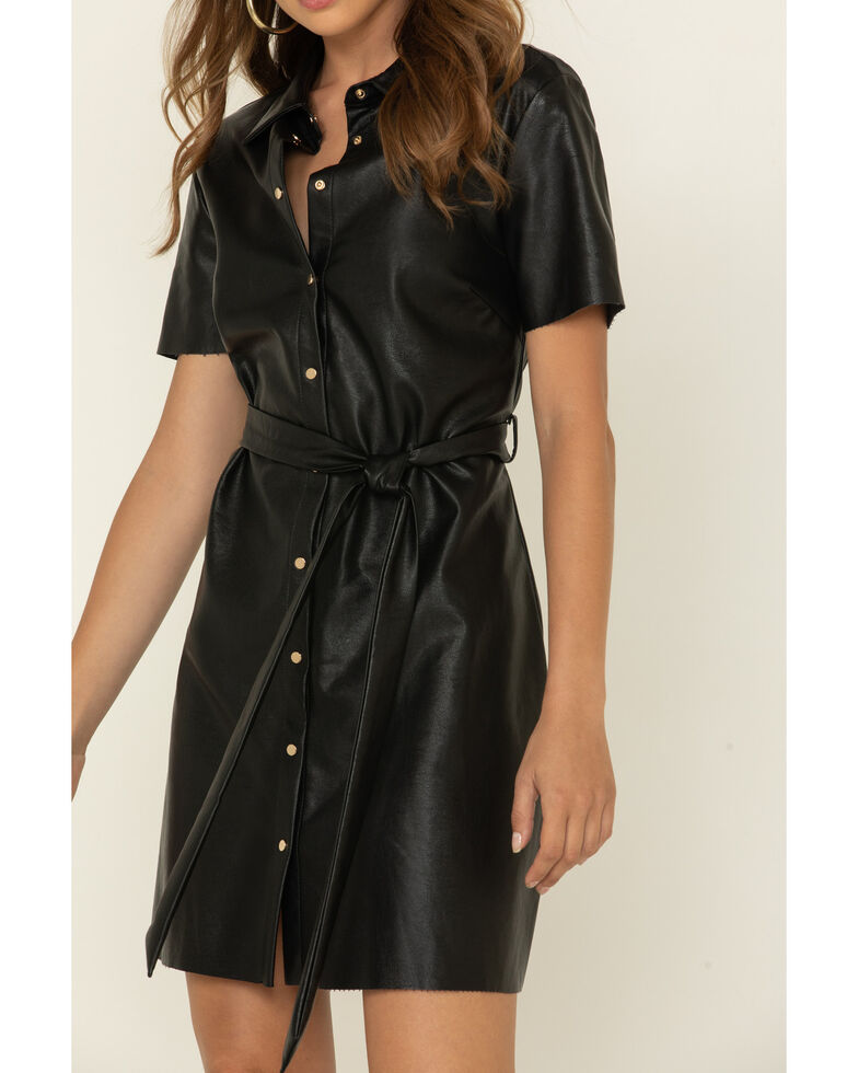 Molly Bracken Women's Faux Leather Shirt Dress , Black, hi-res