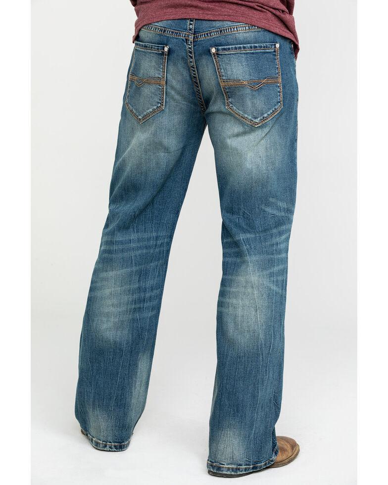 Rock & Roll Cowboy Men's Small V Reflex Cannon Bootcut Jeans , Blue, hi-res