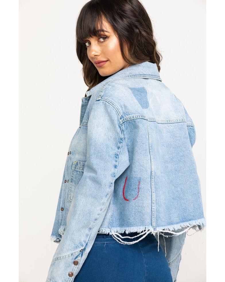 Free People Women's Light Wash Crop Zip Denim Jacket, Blue, hi-res