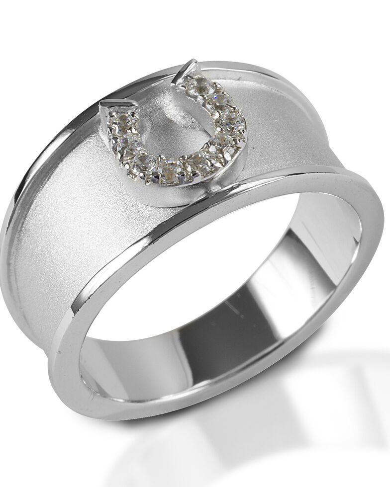 Kelly Herd Women's Wide Band Horseshoe Ring, Silver, hi-res
