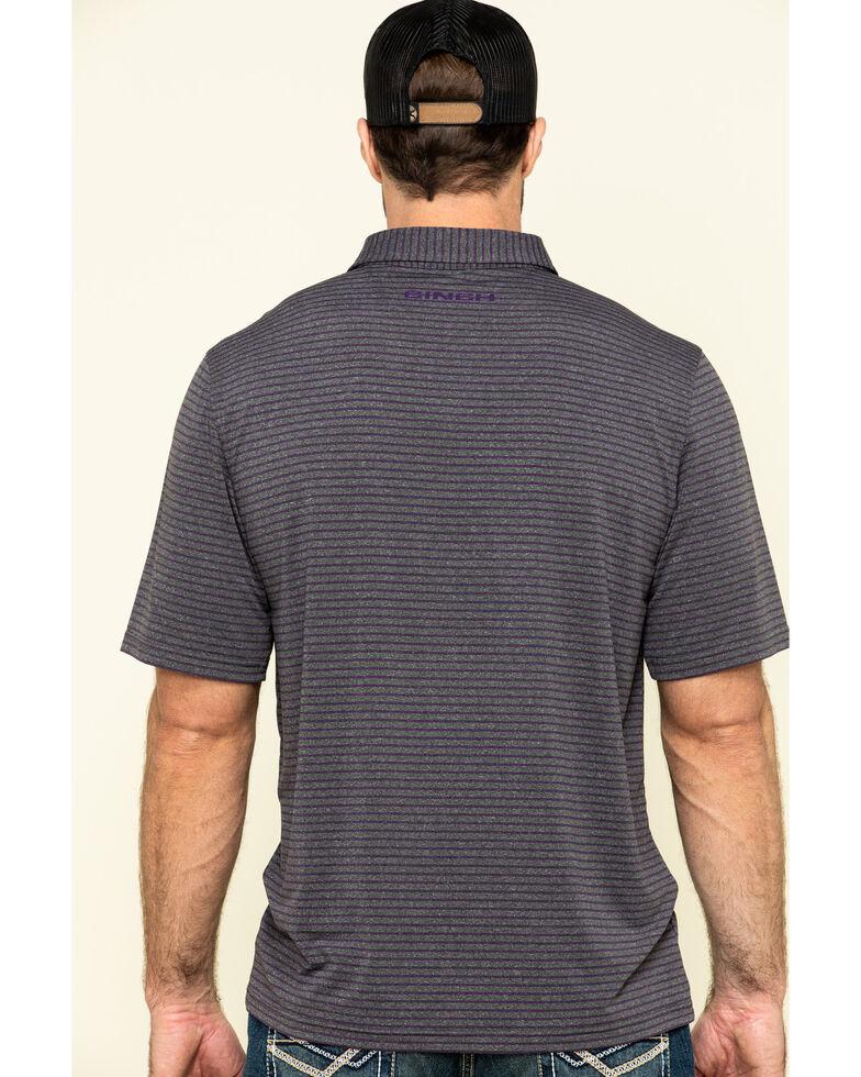 Cinch Men's Arena Flex Heather Grey Striped Short Sleeve Polo Shirt , Heather Grey, hi-res