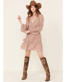 Wishlist Women's Mauve Smocked Waist Tassel Dress , Mauve, hi-res