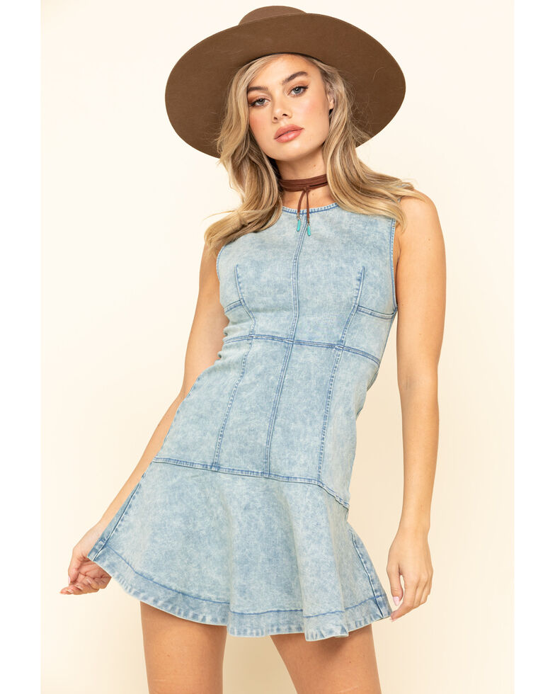 Free People Women's Blue Alex Mini Dress, Light Blue, hi-res