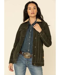 STS Ranchwear Women's Jolene Canvas Sherpa Jacket , Olive, hi-res
