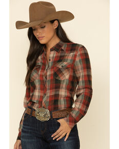 North River Women's Russet Brown Plaid Long Sleeve Western Flannel Shirt , Rust Copper, hi-res
