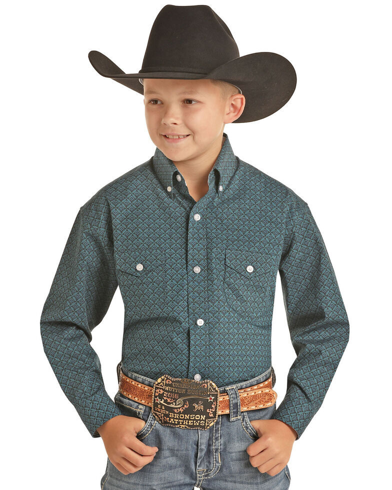 Panhandle Boys' Turquoise Geo Print Long Sleeve Western Shirt , Turquoise, hi-res