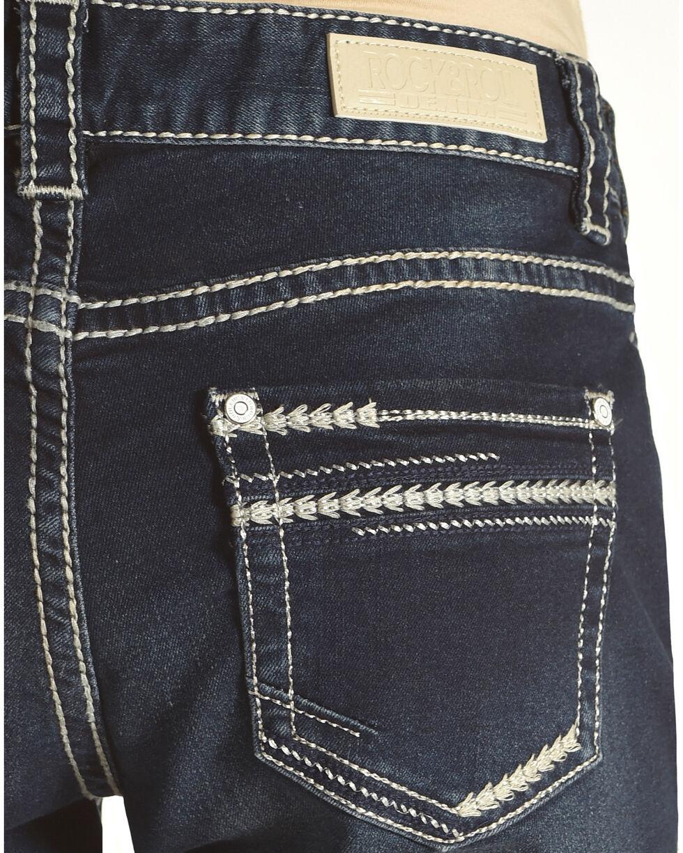 Rock & Roll Cowgirl Women's Feather Stitch Stretch Jeans, Dark Blue, hi-res