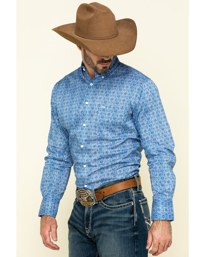 Wrangler 20X Men's Competition Blue Small Floral Print Long Sleeve Western Shirt , Blue, hi-res
