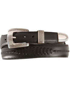 Brighton Onyx Tapered Leather Dress Belt, Black, hi-res