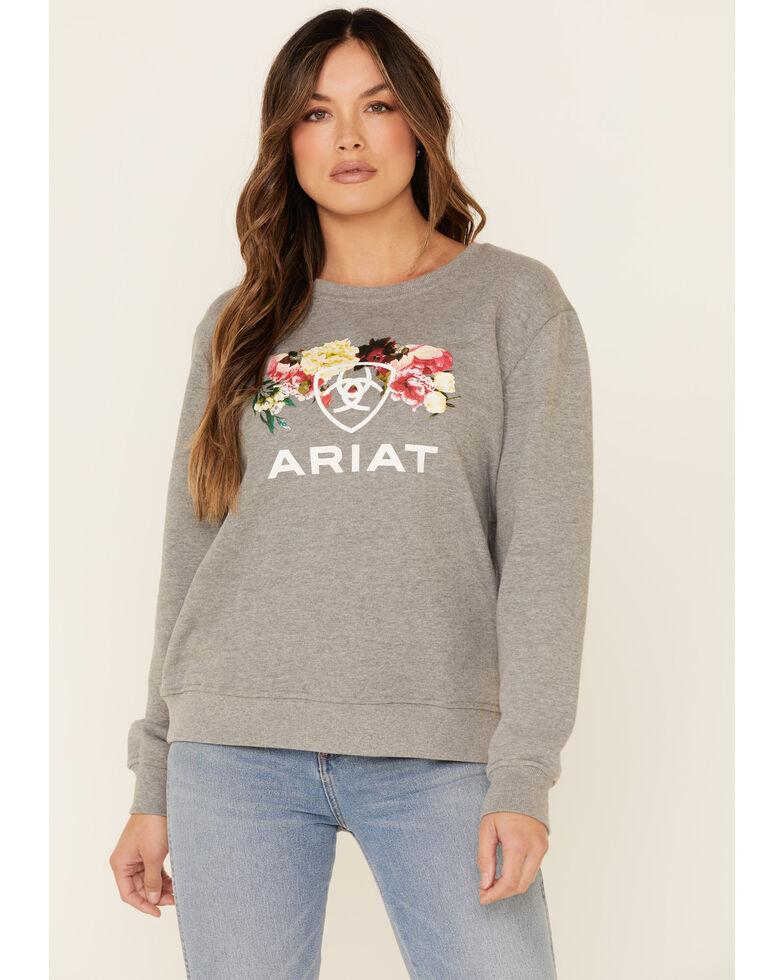 Ariat Women's Heather Grey  R.E.A.L. Floral Logo Graphic Pullover Sweatshirt , Heather Grey, hi-res