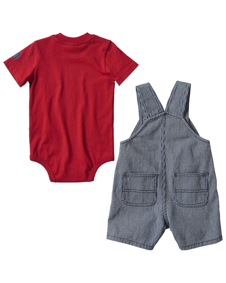 Carhartt Infant Boys' Red Tractor Graphic Striped Shortall Set , Indigo, hi-res