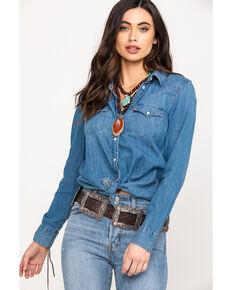 Levi's Women's Basic Medium Wash Denim Snap Long Sleeve Western Shirt, Blue, hi-res