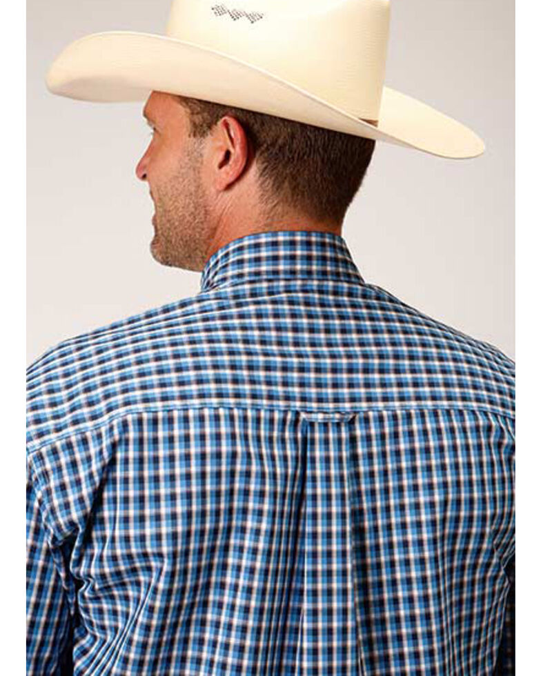 Roper Amarillo Men's Americana Check Plaid Button Short Sleeve Western Shirt , Blue, hi-res