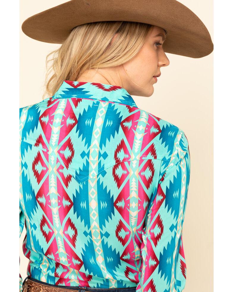 Wrangler Women's Turquoise Aztec Snap Long Sleeve Western Shirt , Turquoise, hi-res