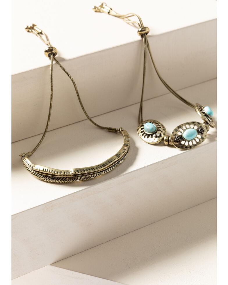 Shyanne Women's Gilded Gold Turquoise Leaf Bracelet Set, Gold, hi-res