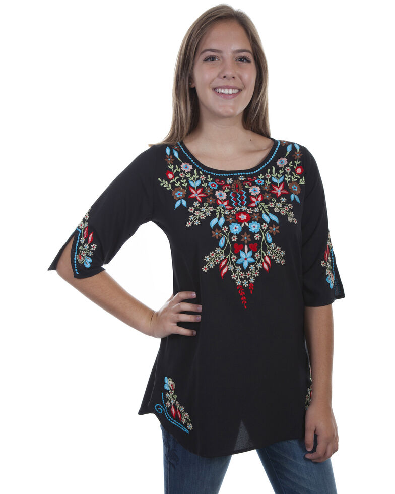 7803079087c Honey Creek by Scully Women s Black Floral Embroidered Tunic ...