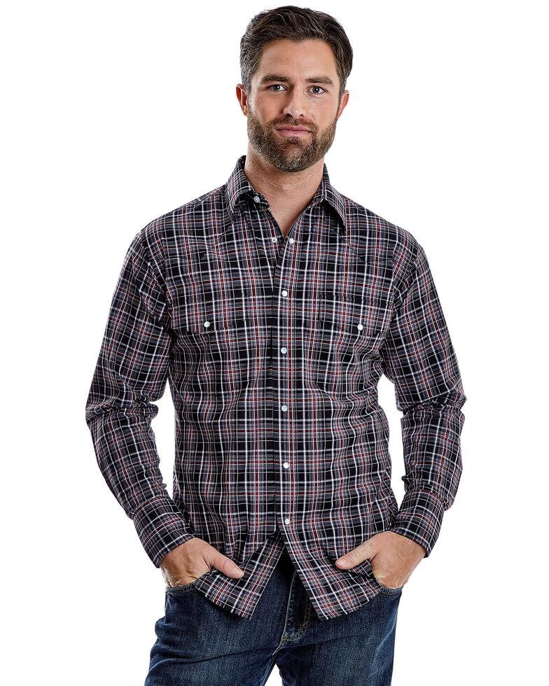 Wrangler Men's Wrinkle Resist Multi Plaid Long Sleeve Western Shirt , Grey, hi-res
