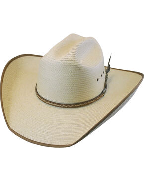 Larry Mahan Men's Natural Hurst Palm Leaf Cowboy Hat , Natural, hi-res