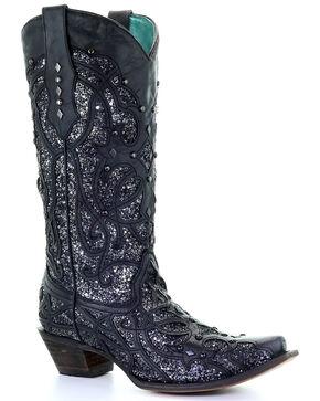 Corral Women's Black Glitter Inlay Western Boots - Snip Toe, Black, hi-res