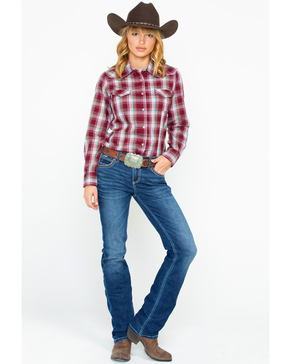 As Real As Wrangler Women's Wine Lurex Long Sleeve Western Shirt, Wine, hi-res
