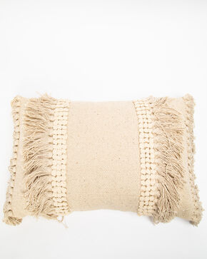 BB Ranch Woven Fringe Pillow , White, hi-res