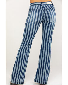 Rock & Roll Cowgirl Women's Medium Stripe Flare Jeans, Blue, hi-res