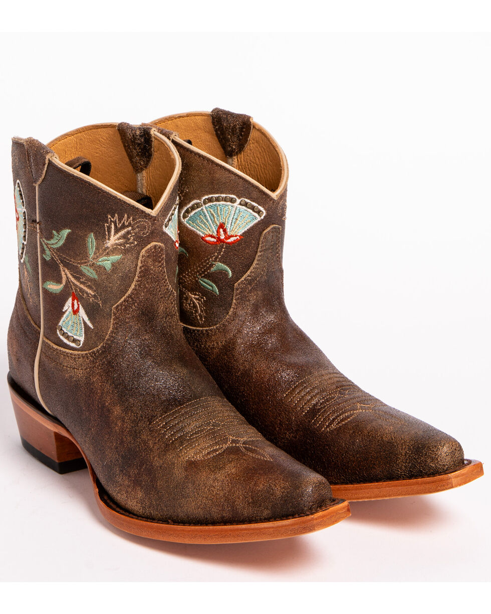 Shyanne Women's Floral Embroidered Western Booties - Snip Toe, Brown, hi-res
