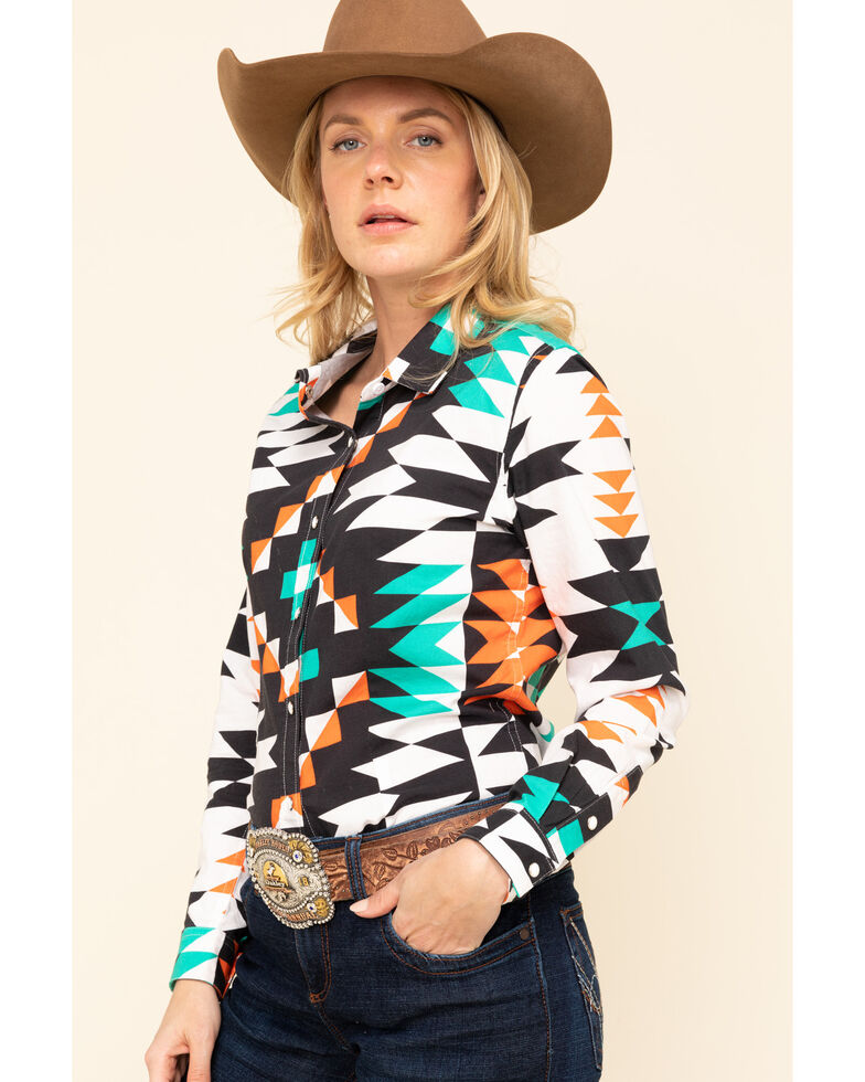 Ranch Dress'n Women's Aztec Print Long Sleeve Western Shirt, Turquoise, hi-res