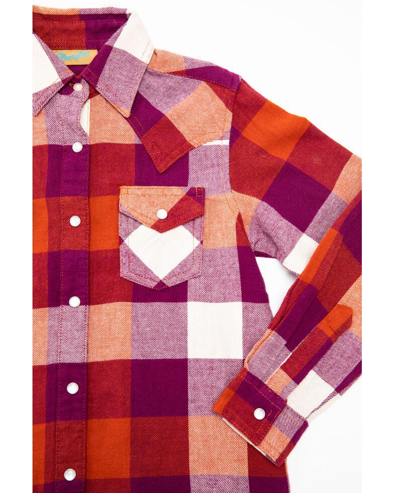 Wrangler Girls' Rust Plaid Long Sleeve Western Shirt, Multi, hi-res